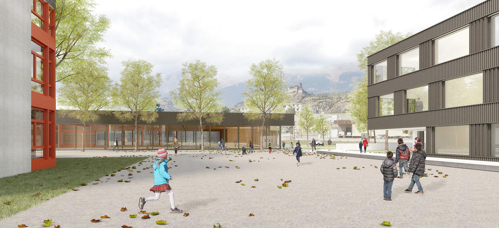 concours de projets pour l'extension du centre scolaire de champsec, la construction d'une salle de gymnastique et d'une UAPE - 2018 - cheseauxrey sàrl