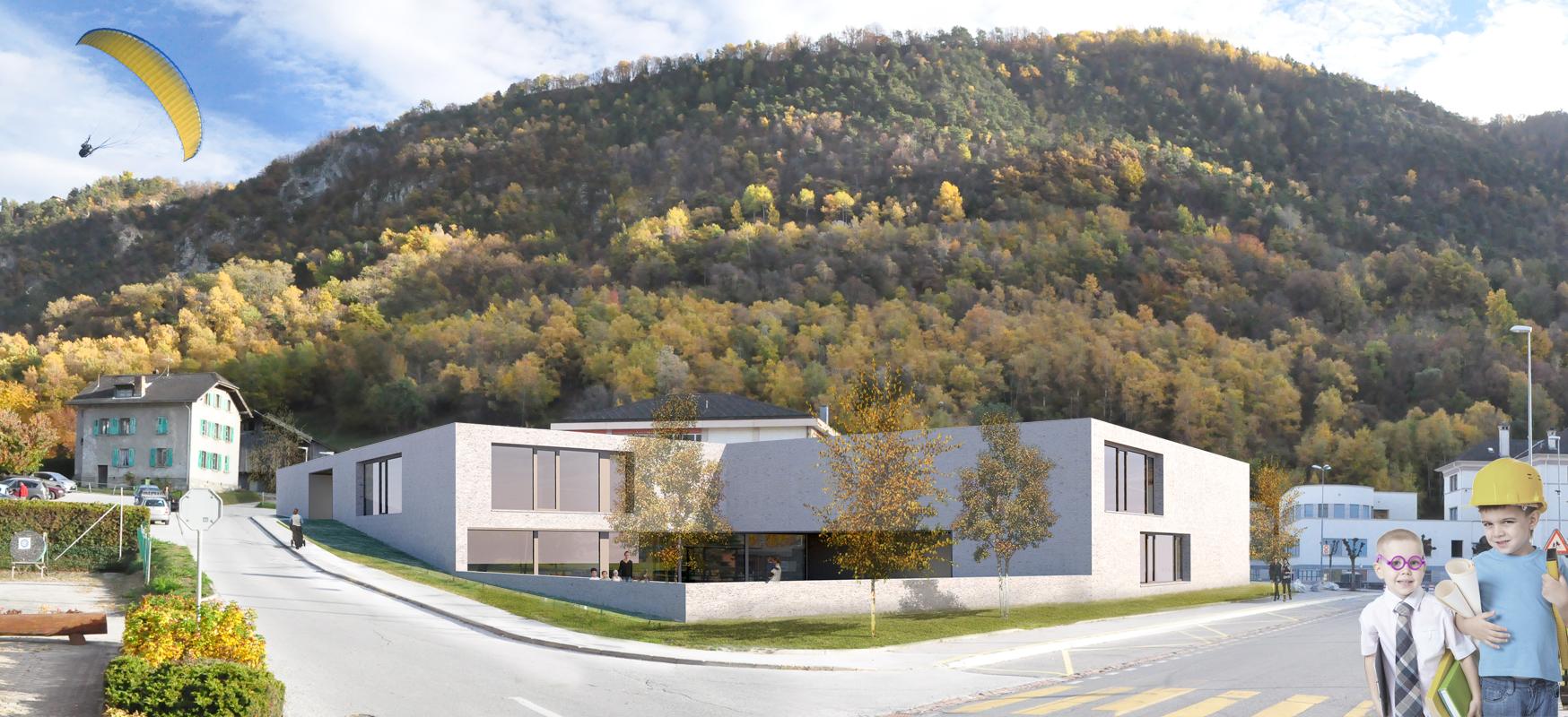 construction d'une crèche, UAPE, ludothèque et salles de classes grône - 2015 - 1er prix - cheseauxrey sàrl