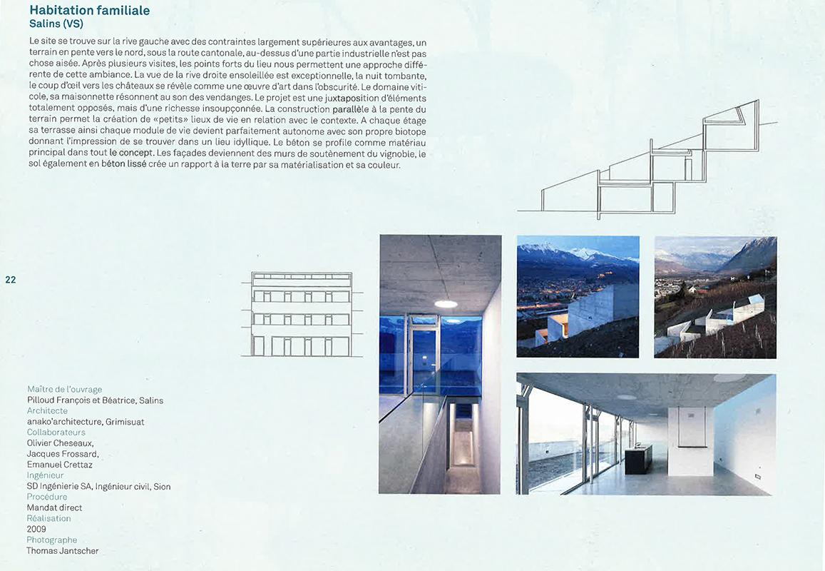 distinction romande d'architecture - 2010 - habitation à Salins