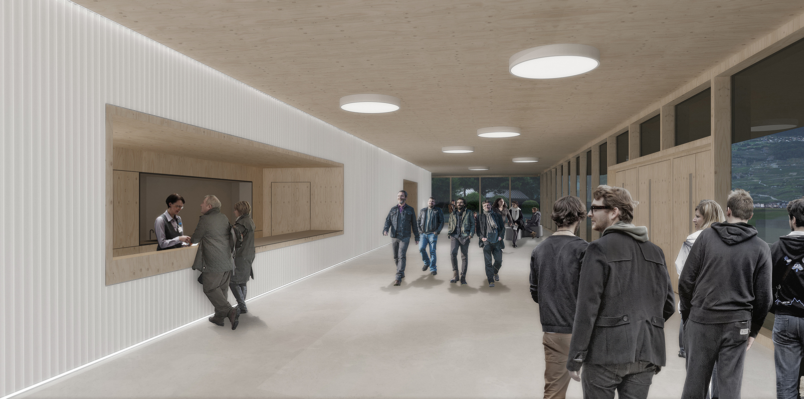concours d'architecture pour la rénovation et l'agrandissement de la salle polyvalente de Châteauneuf-Conthey - 2016 - 1er prix - cheseauxrey sàrlVUE INTERIEURE