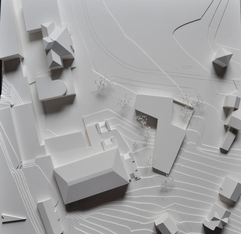 maquette de la construction d'une crèche, UAPE, ludothèque et salles de classes grône - 2015 - 1er prix - cheseauxrey sàrl